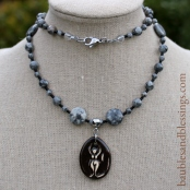 hypoallergenic goddess necklace with silver crazy lace agate & Beadfreaky diffuser pendant