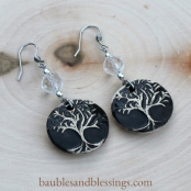 hypoallergenic tree of life earrings with quartz & Beadfreaky diffuser focals