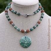 hypoallergenic tree of life necklace with moss agate, rudraksha seeds, sterling silver & handmade Beadfreaky diffuser focal