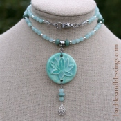 hypoallergenic aqua lotus necklace with candy jade, sterling silver, African jade & Beadfreaky diffuser focal