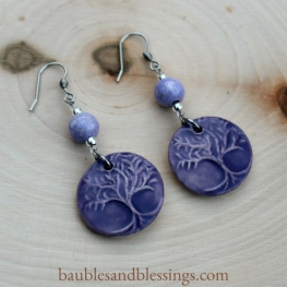 hypoallergenic purple tree of life earrings with dyed riverstone & Beadfreaky diffuser focals