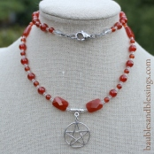 hypoallergenic carnelian necklace with sterling silver pentagram