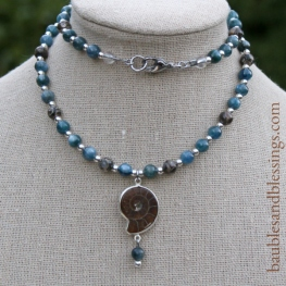 hypoallergenic ammonite necklace with blue kyanite, sterling silver & turritella agate
