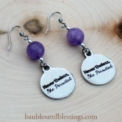 "hypoallergenic ""nevertheless, she persisted"" earrings with Malaysian jade"