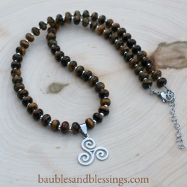 hypoallergenic triskele necklace with tiger's eye & sterling silver